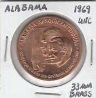 *(T)  Token - Alabama - Sesquicentennial Celebration - 1969 UNC - 33 MM Brass