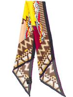 Etro Shell Bead Silk Twill Scarf Brown/Pink Twilly Neck Bow Paisleyina $205