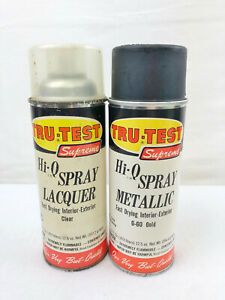 2 VINTAGE TRU-TEST SUPREME HI-Q SPRAY METALLIC / LACQUER - CLEAR / GOLD - EMPTY