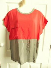 "Red Taupe block colour vintage SILK shirt top size apx 8 10, PIT-PIT 18"" U/brnd"