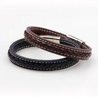 Genuine Leather Bangle Magnetic Buckle Bracelet Chic Men Women Fashion Jewelry