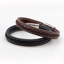 Fashion Unisex Genuine Leather Bracelet Stainless Steel Magnetic Buckle Bangle