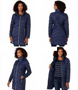 NWT 1X Plus Navy Blue Michael Kors Zip Down Hooded  Packable  Puffer Long Jacket