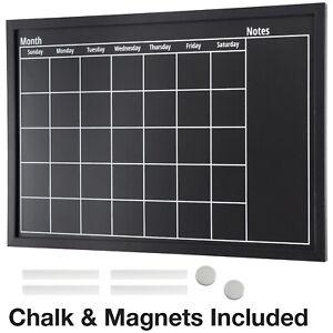 """Framed Calendar Chalkboard: Includes Chalk & Magnets  23.5""""x15"""""""