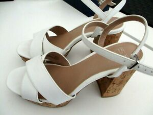"""F & F"" ladies white block heeled summer shoes size 5"