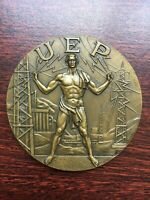 Beautiful antique and rare bronze medal of Portuguese Electricity Union 1969