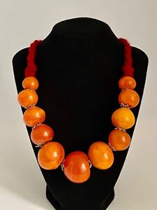 Handcrafted Moroccan Berber Necklace Resin Amber Tribal Jewelry Traditional