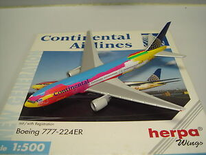 """Herpa Wings 500 Continental Airlines B777-200ER """"Peter Max"""" NG 1:500"""
