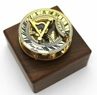 Brass Nautical Sundial & Compass With Hardwood Box London Item Gift