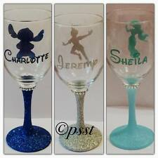 Disney Silhouette Glitter Wine Glass With Personalised  Name