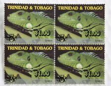 Trinidad & Tobago $1.00 Overprint Iguana Wildlife Definitive 2001 Block of Four