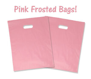 9x12 or 12x15 Frosted Plastic Gift Bags,Party Retail Shopping Shirt Bags Handles