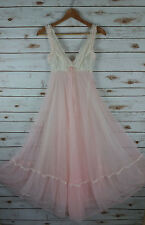 Vtg St Michael Luscious Pink Double Chiffon Nightgown 32 Small Long Wide Sweep