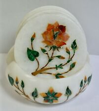 More details for set 6 beautiful indian pietra dura coasters in holder, malachite & agate flowers