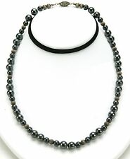 "Antiques Sterling Silver Necklace With Black Natural Stones. 18"" Long. Fantastic"
