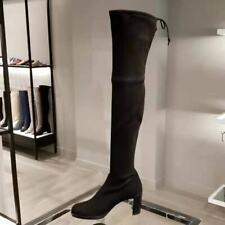 $865 Stuart Weitzman Black Suede Tipland Over the Knee Tall Boots Size 7 NEW