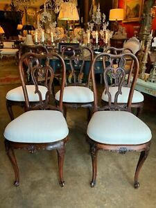 Set of 5 18th Century George II Style Carved Dining Chairs With New Upholistery