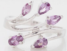 NWOT 10kt White Gold Filled 5-Stone Pear Shaped Amethyst Cluster Ring-7-1/2