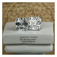 Stud Earrings Aaa Quality Cz Stones 3.01Ct Sterling Silver Asscher Princess Cut