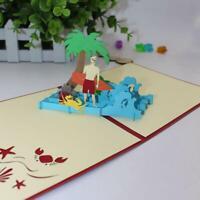 Cute 3D Handmade Mini Elephant Children Holiday Greeting Card Q