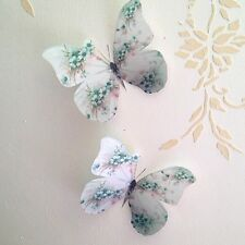 Shabby Chic Butterfly Decals Duck Egg Blue Flowers 3D Hand Made Decorations