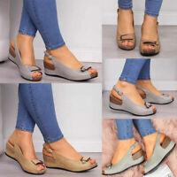 ❤️  Womens Low Wedge Heel Sandals Ladies Summer Peep Toe Ankle Buckle Shoes Size