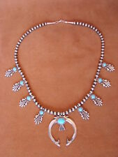 Navajo Jewelry 9 - Stone Turquoise Sterling Silver Necklace by Bobby Platero