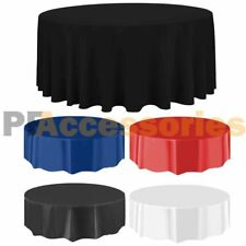 """84"""" Round Tablecloth Plastic Banquet Party Table Cover Vinyl Color"""