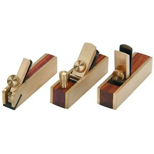 3 piece Micro Mini Brass Hand Plane Set Wood Finish Planer Hardwood Hobby Craft