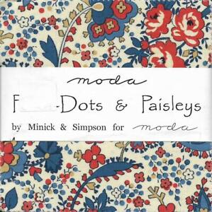 """Patchwork/Quilting Fabric Moda POLKA-DOTS & PAISLEYS 5"""" Charm Squares Pack"""