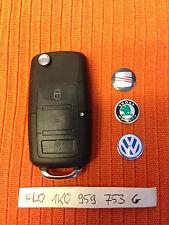 VW Seat Skoda 3 Botones Remoto Clave Fob 1K0 959 753 G 1K0959753G puede cortar y código
