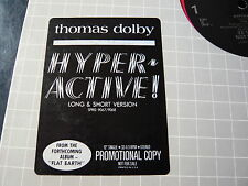 """THOMAS DOLBY..HYPERACTIVE..USA PROMOTIONAL 12"""" 33RPM SINGLE..SYNTH POP ELECTRO"""