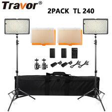 UK Travor 2PCS 240 Dimmable LED Video Light Panel + Stand for DSLR Lighting Kits