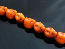 20 x 3D Synthetic Turquoise Skull Beads 10mmx8mm Orange Halloween Skulls Gothic