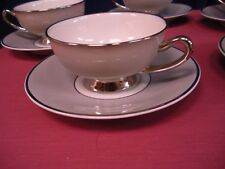 5 Syracuse China Debutante Cup & Saucer Set Made in USA Grey w/ Platinum Elegant