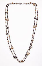 AMAZING BLACK DOUBLE CHAIN NECKLACE CHIC GREY/BLACK GEOMETRICAL BEADS (ZX33)