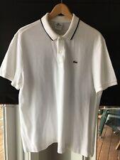 Men's Lacoste White Blue Stripe Collar Polo Shirt Size 7 XL Regular Fit EUC