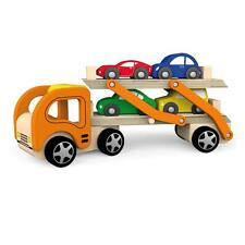 Wooden Car Transporter & 4 Push-Along Vehicles Childrens Wood Wagon Truck Toy