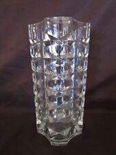 ancien vase en verre épais-dans la masse-motifs géométriques-france-vintage1950