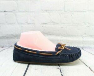 MINNETONKA Women's Cally Dark Navy Suede Moccasin Slippers Size 8 M