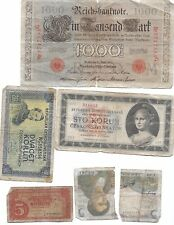 LOT OF1910 1000 MARK GERMANY REICHSBANKNOTE & REPUBLIKA CESKOSLOVENSKA KORUN