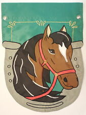 Shaped Horse in the horseshoe on Green decorative sewn Garden flag