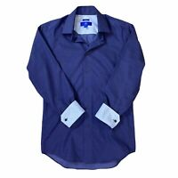 Egara Men's Slim Fit Contrast Cuff Button Front Cotton Long Sleeves Blue Small