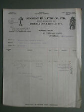 1928 INVOICE FROM SUNSHINE RADIATOR CO. LTD OF LIVERPOOL TO FISHER, BIGGLESWADE