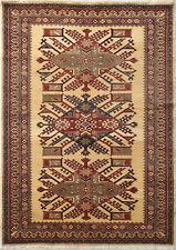 4X6 Hand-Knotted Kazak Carpet Tribal Beige Fine Wool Area Rug D31768