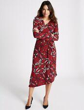 Per Una Chain Print Knot Front Dress Size 14 BNWT Red Midi Faux Wrap Bodycon