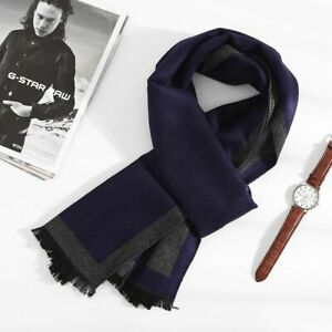 Men Winter Scarf Warm Soft Cotton Scarves Formal Business Male Plaid Scarf