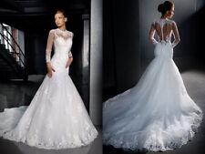 Long Sleeves Lace Wedding Dress Cheap White Ivory Robe de Mariée Trouwjurk Real