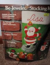 1982 Creative Moments Be Jeweled Christmas Stocking Kit Happy Santa Brand New