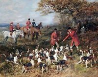 "Heywood Hardy, Hunters and Hounds, Fox Hunting, Horses, Dogs 20x16"" Art Print"